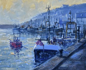 Richard Blowey Original Oil Painting Newlyn Fish Market Cornwall
